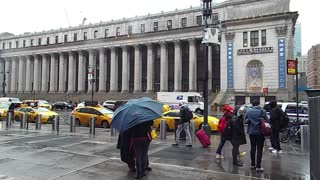 Rainy Day In Street Walking In Front Of Court