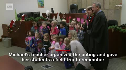 5-year-old boy's entire kindergarten class showed up for his adoption hearing