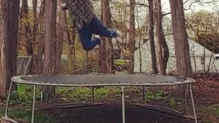 Collab copyright protection - flannel guy flies off trampoline - Video