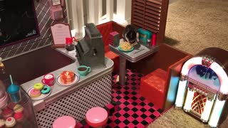Adorable hamster enjoys spaghetti dinner in a toy diner