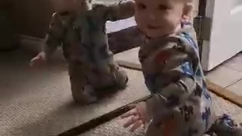 Baby Discovers His best Friend In The Mirror