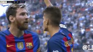 Messi fights with Valencia fans at the end of the match... - Video