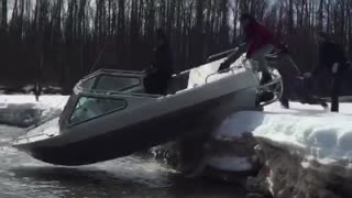 Launching Boat on Snow