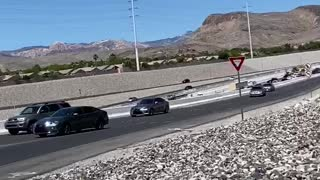 Cars Use On-Ramp to Exit Freeway After Traffic Jam