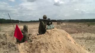 Military force practising modern weapon
