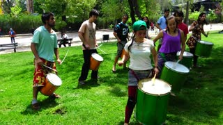 Batucada music and dance performed by University students in Santiago, Chile
