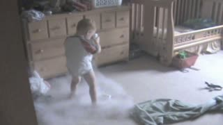Unapologetic Boy Makes A Mess With Baby Powder - Video