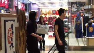 Lunatic Running Around Inside Westfield Mall San Francisco