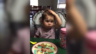 Cute Baby Can't Wipe Mashed Potatoe From Face