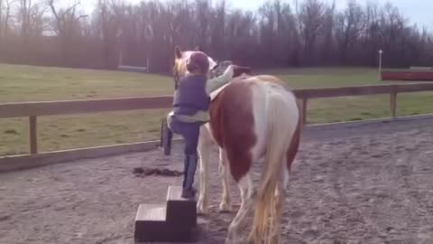 Little Kid Finds A Way How To Mount On His Pony Alone