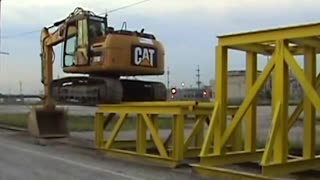 Cat climbing onto rail car