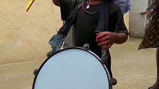 Cute boy playing drums  - Video