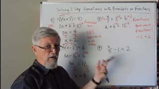Math Solving Equations Set A 02 Simple Brackets and Fractions Mostly for Years 7, 8 and 9