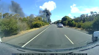 Truck Burns on Highway - Video
