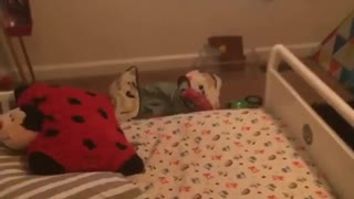 Toddler pink onesie bed fall - Video