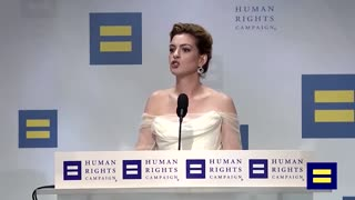 Anne Hathaway attacks white privilege during speech about human rights