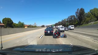Motorcycle Rider Lands on His Face - Video