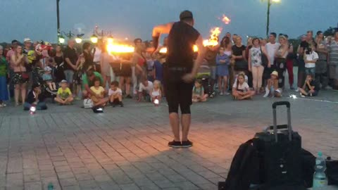 Street Performance With Flames