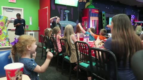 Kids funny reaction to Chucky Cheese!