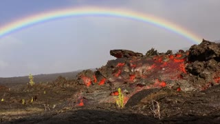 Breathtaking Rainbow Over Lava Flow in Hawaii