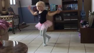 Little Girl Slides and Slips While Doing Ballet - Video