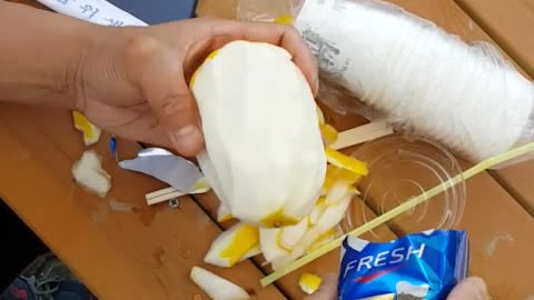 Life Hack- How To Peel A Melon Without A Knife