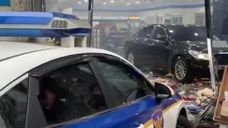 Police Pursuit... Car Drives Into Convenience Store & Wrecks Everything