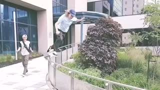 Collab copyright protection - curved rail slide skateboard fail - Video