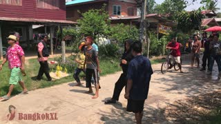 Funny Dancing During Songrkan Thai New Year - Video