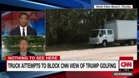 Nothing to See Here: Large Box Truck Blocks CNN Cameras Filming Trump's Golf Outing