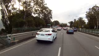 Car Nearly Merges into Motorcycle