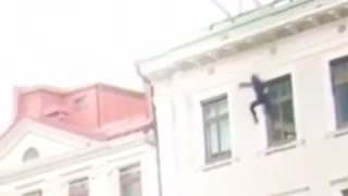 A man jumps from a balcony 😅
