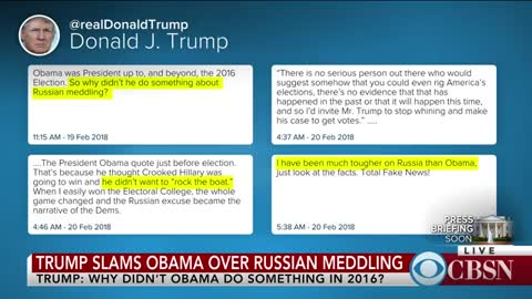 Trump Questions: Why Aren't Dems Under Investigation If Russian Meddling Took Place Under Obama