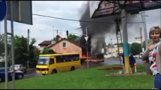 Street View: Flaming Trolleybus Smashes Into Home - Video
