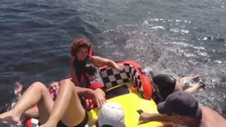 Women Fail At Power Boat Tubing - Video