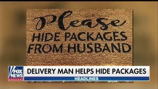 Amazon delivery man captured following doormat's instruction to 'hide packages from husband' - Video