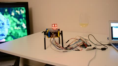Homemade robot learns to stand on its own!