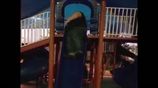 Big man is defeated by little slide