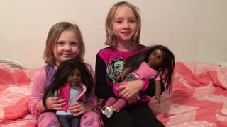 Two White Girls Happy to Get Black American Girl Dolls for Christmas - Video