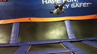 Purple mat trampoline slowmo backflip fail