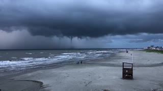 Waterspout Hovers over Galveston Texas