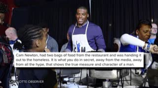 Cam Newton Caught Secretly Feeding Homeless Man - Video