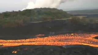Helicopter Ride Volcano Eruption Lava Flow Hawaii  - Video