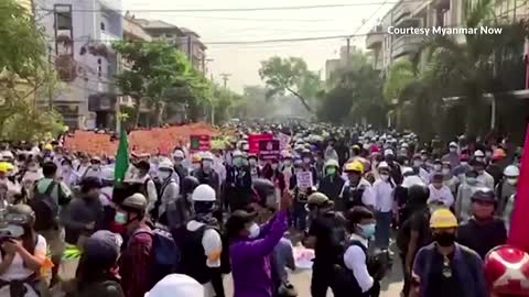 Myanmar protests strong in Mandalay after raids