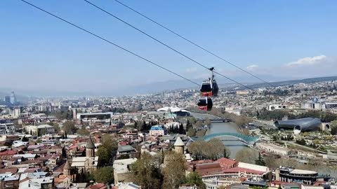 A cable car in one of the cities of Georgia