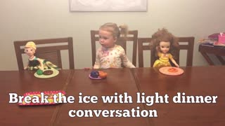 Little girl demonstrates how to host a fabulous dinner party - Video