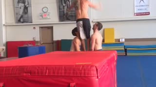 Collab copyright protection - red soft pit 3 guys backflip fail - Video