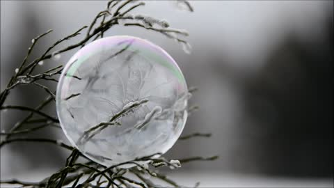 Bubble Turning Into Ice