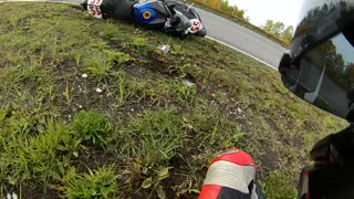 Crash During Motorcycle Race