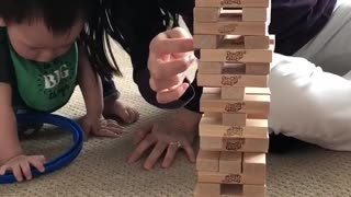 Addison wins Jenga over her mom....
